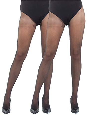 Sibinulo Pantimedias para Mujer 2 pares 40 den Cinturo Bajo sin Bragas Costura Plana y Refuerzo, Dedos de Los Pies Reforzados Profundo Negro XL