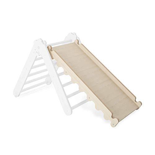 Modernes Kleinkindrutsche für Kletterdreieck | Babyrutsche, Rutschbrett Indoor Scandi Design | Nachhaltig Schrägbrett für Sprossenwand aus natürlichem Holz | 100% ECO | Made in EU