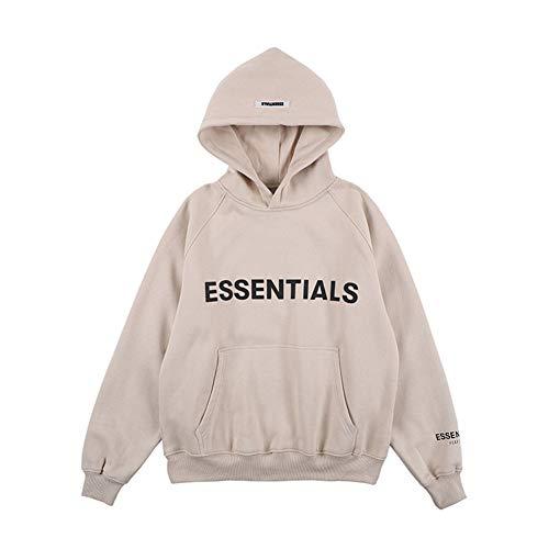 Kxin Fashion Fear of God Essentials Letter Fleece Sweatshirt Hoodie für Damen und Herren Gr. L, aprikose