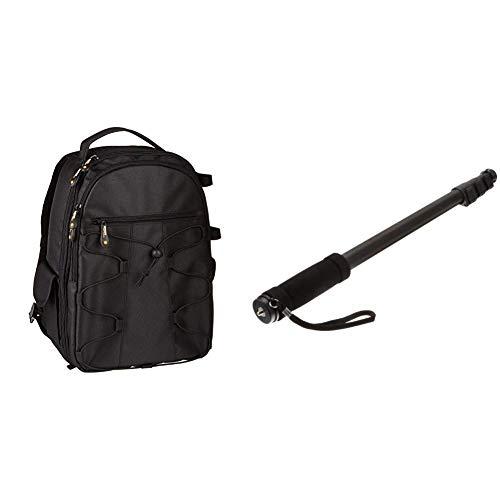 AmazonBasics DSLR-Kamerarucksack für Spiegelreflexkameras und Zubehör schwarz & 67-Inch Monopod