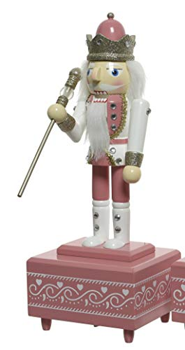 ETC dekorativer klassischer Nussknacker als Dekofigur mit Spieluhr Holz bemalt pink/weiß oder weiß/pink (weiß-pink)