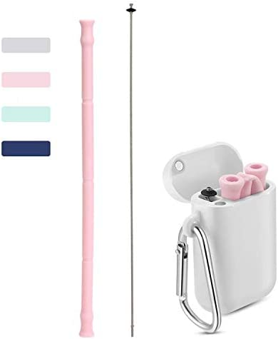 Home KEYDI Portable Drinking Folding Straws Premium Food-Grade Reusable Straws with Hard Case Cleaning Brush and Keychain Zero WastePerfect for Travel Office Or Gift Collapsible Straw