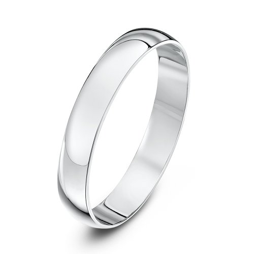 Theia Unisex Heavy Weight 3 mm D Shape 9 ct White Gold Wedding Ring - P