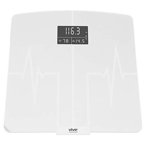 Vive Precision Smart Heart Rate Bathroom Scale - Measures Body Weight, Fat, BMI, Water Percentage - Electric Health Meter - Large Digital Screen Device with Accurate Analyzer and Smartphone App