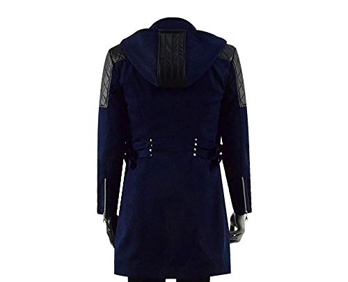 DMC 5 Mens Devil May Cry Nero Zipper Hoodie Coat Costume Cosplay Outfits for Holloween Party (L, Navy Coat)