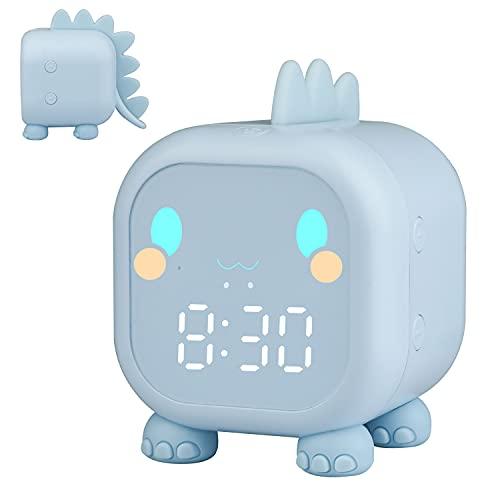 Kinderwecker Digital, Dinosaurier Wecker mit Nachtlicht Snooze Timer-Temperatur Kinder Schlaftrainer , Wecker für Kinder Schlafzimmer Jungen Mädchen (Blau)