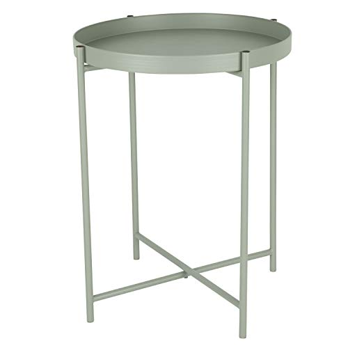 Tabletttisch rund Ø38cm H50cm Metallgestell 'Desert Sage' Grau - Serviertisch Beistelltisch Couchtisch Wohnzimmertisch Kaffeetisch