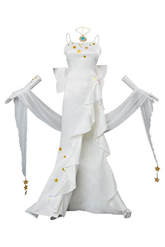 RedJade Destino/Grand Order Leonardo da Vinci Traje de Cosplay White Gown Damas XXL