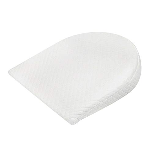 Jinxuny Almohada antirreflujo para bebés Cuña de Cuna con Funda Impermeable extraíble Espuma de Memoria para bebés y Almohada de Esponja para Dormir Reflujo para bebés (Color : Oval - White)