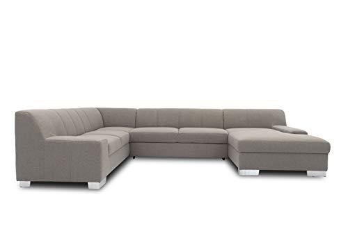 DOMO. collection Bero Wohnlandschaft, Sofa U-Form, Couch, Polstergarnitur, grau, 212x328x153 cm