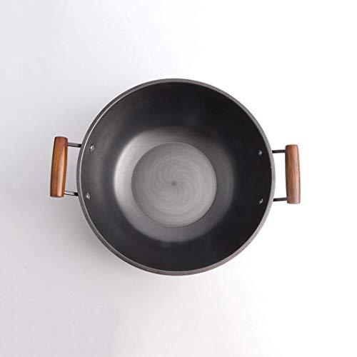 Wok con tapa, cubierta de madera sin palo de hierro fundido olla sin recubrimiento hierro fundido acero inoxidable guiso olla hierro fundido olla hierro olla