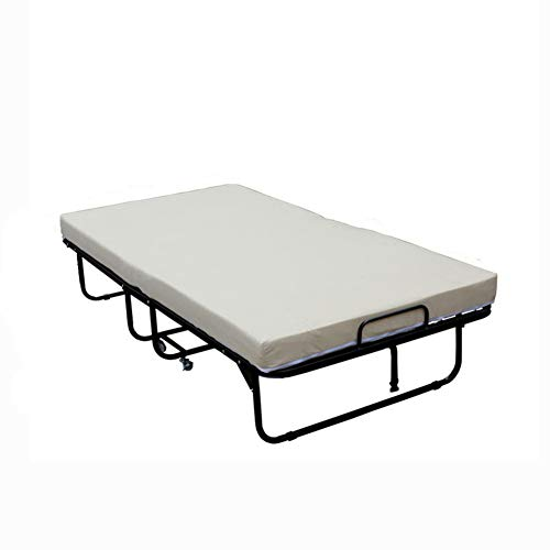 WRJ Klappbett,Gästebett Dicke Memory Schaum Matratze Raumsparbett Bettrahmen 4 Kräftigen Beweglichen Rädern Metall Rahmen Einzelbett Doppel Siesta Bett,96cm
