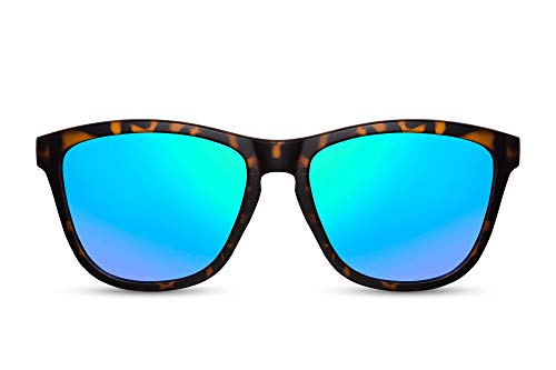 Cheapass Gafas de Sol estilosas Gafas de Sol Plástico Deportivas Mate Leopardo Montura Verdes lentes azules Espejadas protección UV400