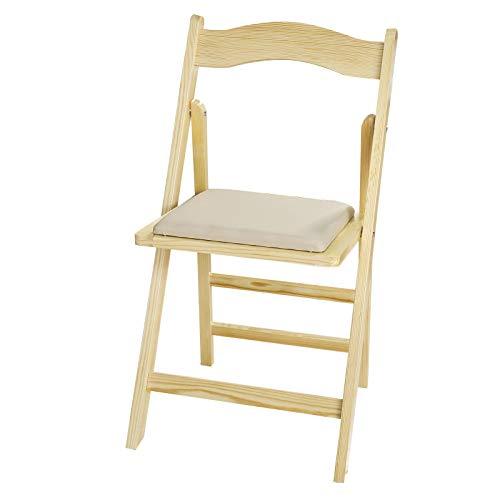 SoBuy FST06-N Chaise Pliante avec Assise rembourrée, Chaise Pliable pour Cuisine/Bureau/Salon en Bois - Naturel du Bois