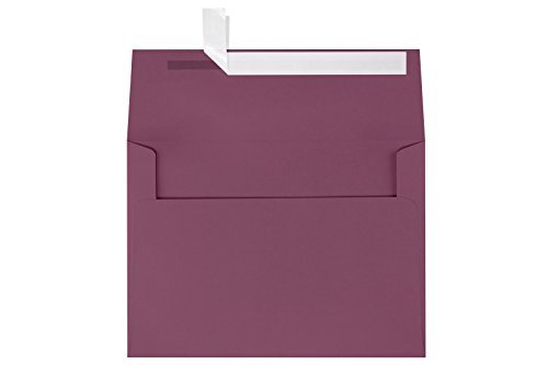 LUXPaper A7 Invitation Envelopes for 5 x 7 Cards in 80 lb. Vintage Plum, Printable Envelopes for Invitations, w/Peel and Press Seal, 50 Pack, Envelope Size 5 1/4 x 7 1/4 (Purple)