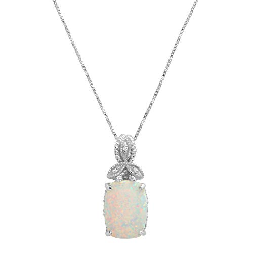 Sterling Silver 13x10mm Simulated Opal and Diamond Accent Pendant Necklace, 18