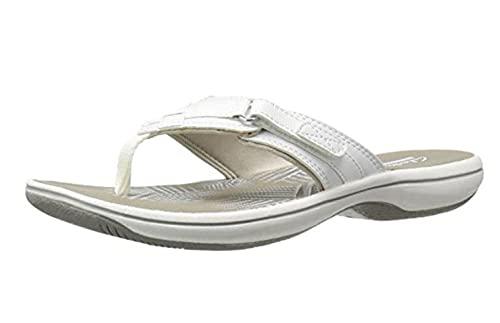 Ririhong Chanclas Nuevas Sandalias Mujer Casual Plana PU hogar Exterior Interior Suave Fondo Playa Zapatos Perezosos Zapatillas-White_41