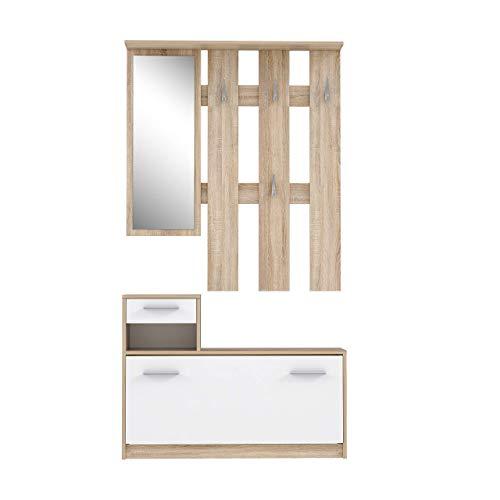 FORTE Kompaktgarderobe inklusive Spiegel, Sonoma Eiche Dekor, 97.5 x 25 x 180 cm