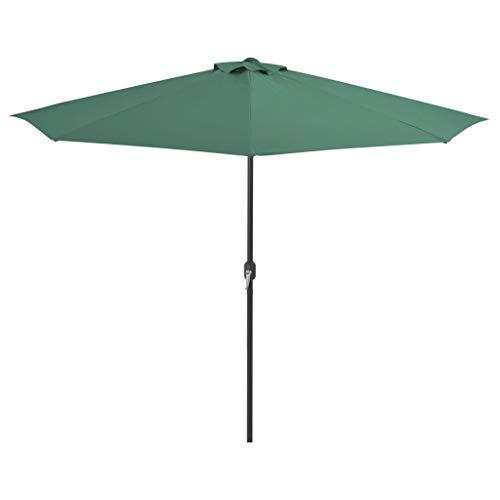 Festnight- Sombrilla de Jardín Parasol Semicircular Palo Aluminio 300 x 150 x 253 cm Verde
