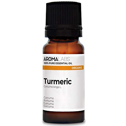 Organic Turmeric Essential Oil - 10ml - 100% Pure, Ecocert Certified Organic - Best Therapeutic Grade Essential Oil - Aroma Labs