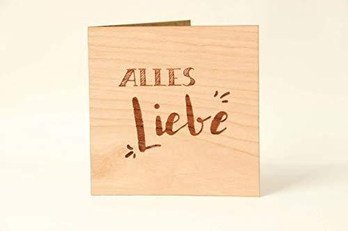 Holzgrußkarten Glückwunschkarte für verschiedene Anlässe - 100% Made in Austria - Karte besteht aus Kirschholz - geeignet als Glückwunsch zum Abitur, Hochzeit, Geburtstag, Muttertag, Vatertag uvm.