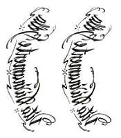 tuzuru タトゥーシール 3枚セット 15cm×21cm アルファベット 文字 ステッカー 防水 腕 脚 背中 おまけ付