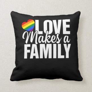 CICIDI Gay Pride Love Makes A Family Moms Dads Kids Lgbt Wurfkissen, Home Sofa Room Decor 50,8 x 50,8 cm