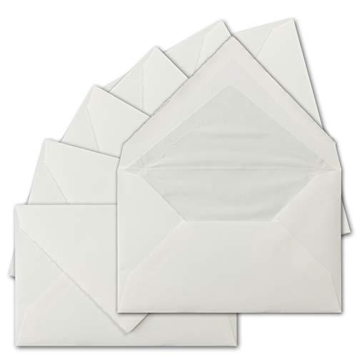 25 Stück C6 Vintage Brief-Umschläge, echtes Bütten-Papier, 11,4 x 16,2 cm, Weiß halbmatt gerippt gefütterte Brief-Kuverts - Original Zerkall-Bütten