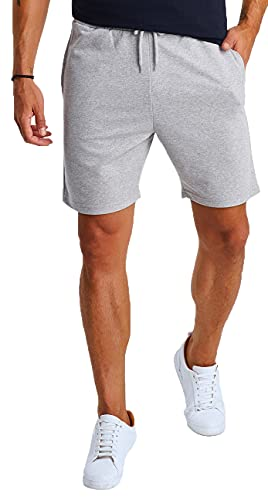 Björn Swensen Shorts Herren Kurze Hose Baumwolle Sommer Sport Jogginghose Männer Sporthose Kurze Freizeithose Trainingshose Fitnesshose Laufshorts Bermuda Slim Fit Fit BS3003 Grau X-Large