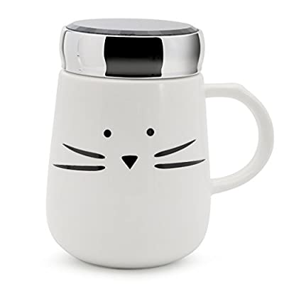 Cute Cat Face Ceramic To Go Cup With Lid