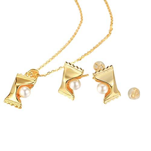Happyyami Collar de Perlas Y Pendientes de Perno Conjunto de Joyas de Modelado de Dulces Accesorios de Joyería de Boda Nupcial para Dama de Honor Mujeres Damas de Oro