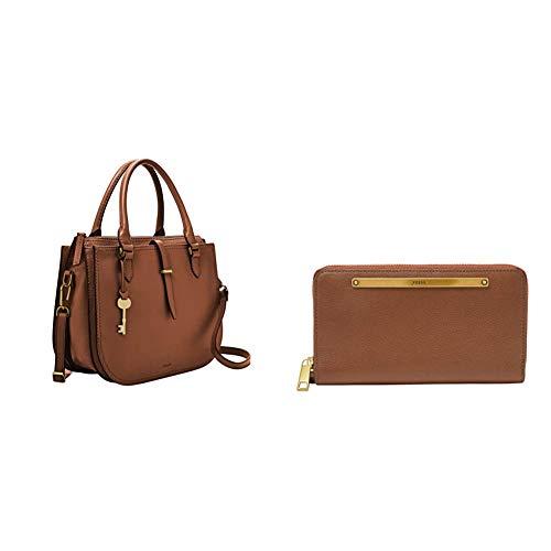 Fossil Women's Ryder Leather Satchel Handbag, Brown with Women's Liza Leather Zip Around Clutch Wallet, Brown