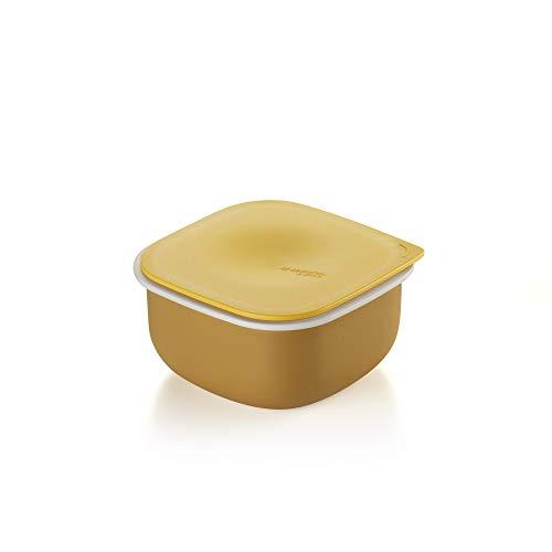 Guzzini Re-Generation, Contenitore Quadrato con Coperchio in Materiale Plastico Riciclato, 12.9x12.9X h6.7 cm, Made in Italy-Giallo Senape, 0.5 Litri