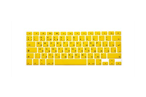 All-Equal For Macbook For Air 13 Keyboard Cover With Russian Letters For Mac Book Pro 13 15 17 Ifor Mac Keyboard Stickers-Yellow-