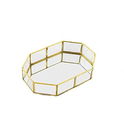 WYJW Opbergdoos Phnom Penh Glazen Spiegellade Gouden Bewaarplaat Sieraden Doos Sieraden Display (Maat: Xl)