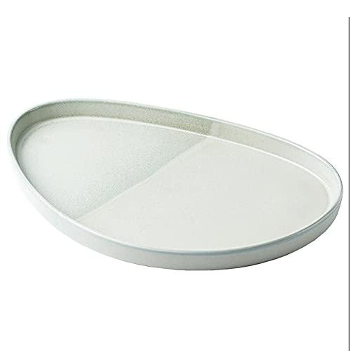 ELLENS Plato de Carne de cerámica Irregular/Plato de Postre/Plato de Aperitivo/Plato de Ensalada, Plato de Servicio para Cocina de Fiesta (32,4 cm × 20,3 cm × 2,5 cm)