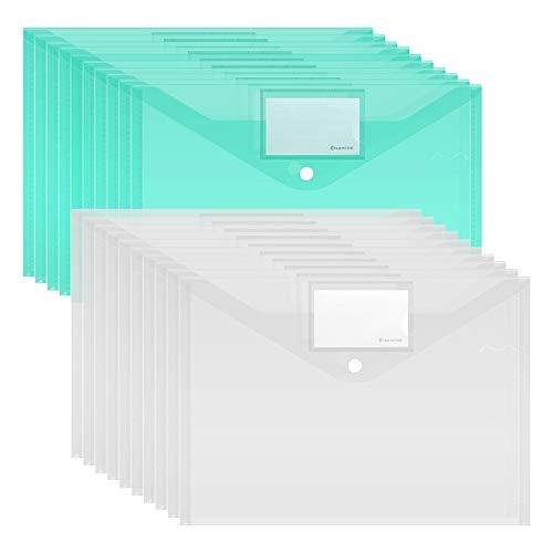 Dokumententasche A4,20 Stück A4 Sichttasche Dokumenten Mappen Transparent Brieftaschen Tasche für Dokument Speicherung mit druckknopf und Tasche