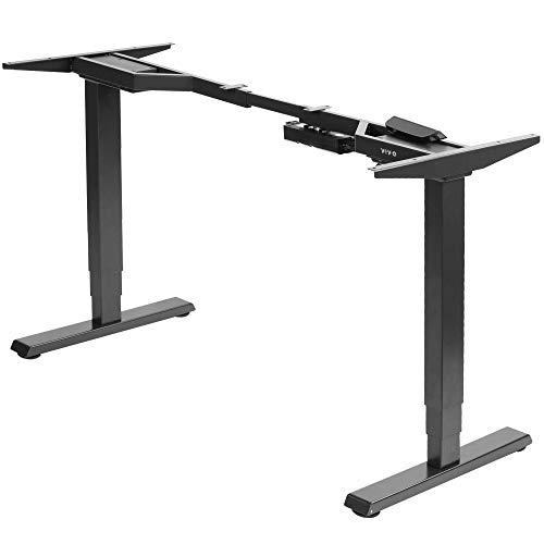 VIVO Electric Dual Motor Stand Up Desk Frame for 40 to 84 inch Table Tops (Frame Only), 3 Stage Height Adjustable DIY Workstation with Touch Screen Controller, Black (DESK-EV02RB)