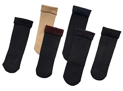 通用 ASGRADO 6 Pares Calcetines termicos de Mujer de invierno,terciopelo,antideslizantes,
