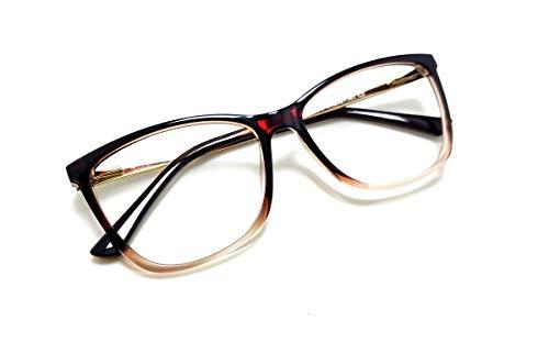 Óculos Armação Feminino Gatinho Com Lentes Sem Grau Aa-6611 (Marrom-Degrade)