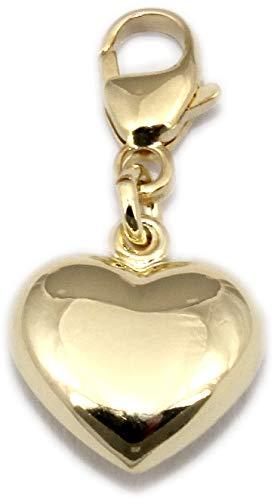 Charm Anhänger Einhänger Herz 3D Glanz echt Gold 333 Gold Gelbgold 8kt Herzchen