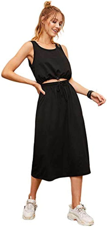 NANADEDIAN Drawstring Hem Tank Top And Skirt Set Women new Summer Sleeveless Black Two Piece Set Sportswear Solid 2 Piece Set