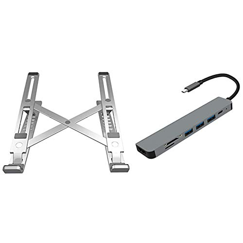 Wivarra Adjustable Portable Laptop Stand (Silver) with USB C Docking Station, Seven-In-One Multi-Port