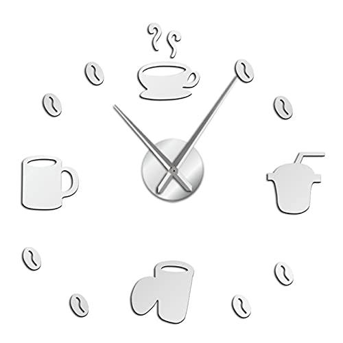 xinxin Relojes de Pared Señales de café sin Marco 3D DIY Reloj de Arte de Pared Clásico Grano de café Mute Acrílico Espejo Adhesivo Plata 47 Pulgadas