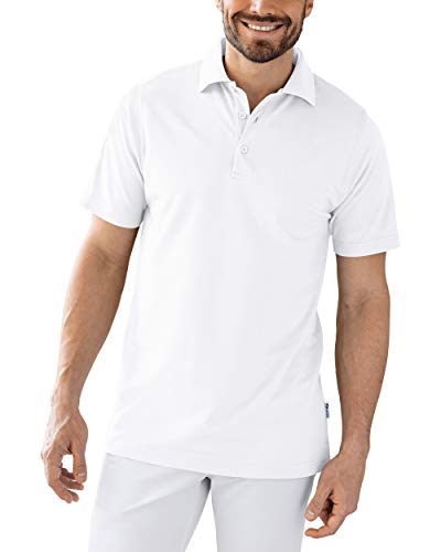 CLINIC DRESS Shirt Polo Unisex 1/2 Arm - gerade Form Polokragen 60% Baumwolle, für Krankenschwestern, Pfleger, Ärzte und Pflegepersonal weiß L