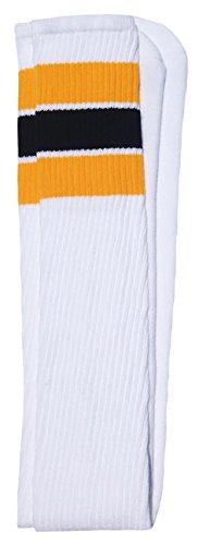 SKATERSOCKS Skater 88,9cm Socken Tube Socks, Unisex, White/Gold-Black Stripes Style 5, 35