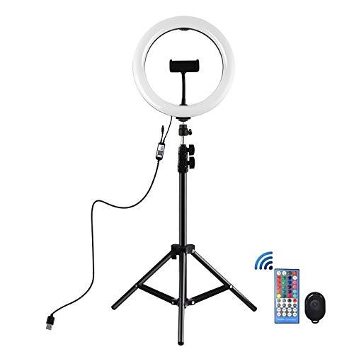 Soporte de Anillo de Selfie, Soporte trípode + Superficie Curva de 10 Pulgadas de 26 cm RGBW LED Anillo Vlogging Light Light Light Light Kits de transmisión con Control Remoto y Abrazadera telefónica