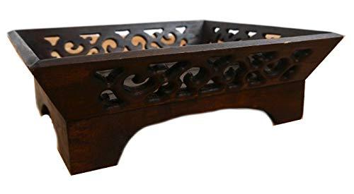 livasia Tablett aus Holz Serviertablett Obstschale (Handarbeit) mit Schnitzerei Brot und Brötchenkorb Holzteller