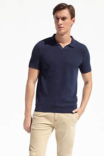 PORT ROYALE Polo de manga corta para hombre con patrón estructural, puños fijados. azul marino L