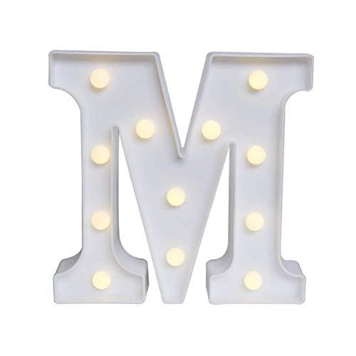 Lispeed Letter Alfabeto, decoración Superior en Luces de Madera Alfabeto Letras Blanco cálido MDF, con Luces LED alimentadas por Pilas M M